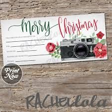Photography Gift Certificate Template Christmas Camera Printable Gift Certificate Template Photography