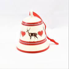 Christbaumschmuck Glocke Keramik Weiß Rot Hirsch Herz Glockenklang