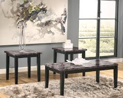 Coffee End Tables Marble Table Set 3piece Wooden Block Legs Black Faux Marble Top