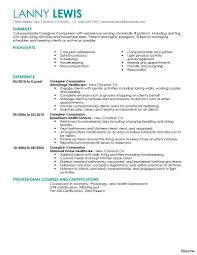 caregiver resume example objective examples experience  vesochieuxo