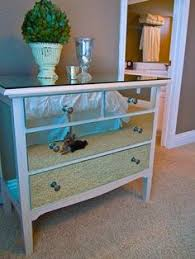 diy mirrored furniture. Mirrored Chest Of Drawers Green Plant In Cream Vase Silver Diy Furniture