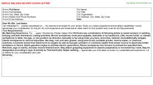 Welder Helper Job Description Welder Helper Job Cover Letter
