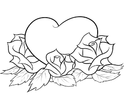 coloring pages with hearts and roses with hearts and roses drawing hearts and roses