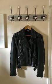 black leather top biker jacket size 12 barely worn excellent condition new