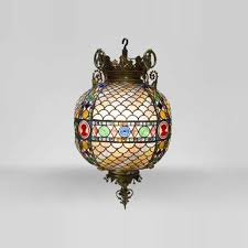 beautiful antique neo gothic style spherical chandelier in stained glass late 19th century