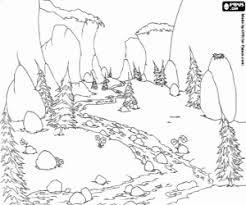 Kleurplaat Landschap Met Een Rivier Berg Kleurplaten