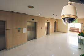 commercial security. business security camera located by elevators commercial