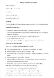 teacher resume templates – free sample  example format    sample catalog librarian resume template