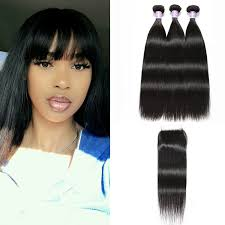 Straight Bundle Length Chart Dsoar Hair 3pcs Peruvian Straight Virgin Hair Bundles With Lace Closure