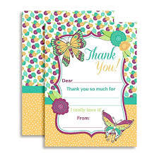 Blank Thank You Notes Butterfly Thank You Notes