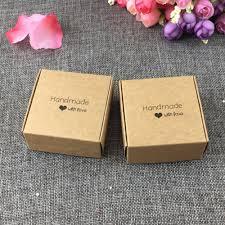 50pcs 6 5x6 5x3cm kraft fashion printing handmade with love gift bo paper jewelry bo display case accept custom logo