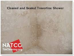 cleaned and sealed travetine shower