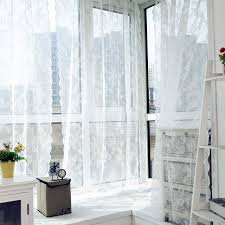 Lace Curtains Voile Tulle Curtains Insect Bed Canopy Netting Drape Panel Leaf Door Window Sheer Curtain for Living Room