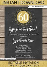 60 birthday invitations chalkboard 60th birthday invitations template editable printable diy