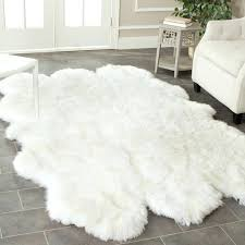 white faux fur rug large