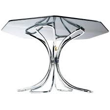 nos futura chrome and smoked glass octagon dining table 1970s