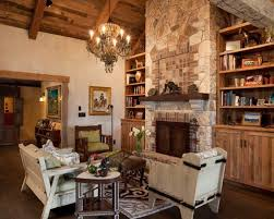 Example of a mountain style living room design in Austin with a brick  fireplace