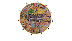DK Homewares Round Bohemian Floor Pillow <b>Bohemian Mango</b> ...