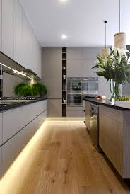 contemporary kitchen lighting. Kitchen Ideas Modern Contemporary Design Kitchens Grey Fenix Bench Pear Artwork Wooden Pendant Lights Under Cabinet Lighting N
