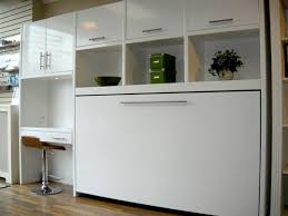 utilize small room with murphy desk ideas glossy white murphy desk design with green box
