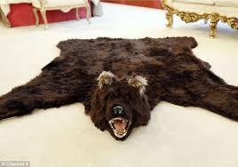 shining fake bear rug with head rugs bearskin polar fur coat