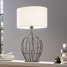 eglo 94608 ona large black metal cage table lamp with white shade for exciting metal table