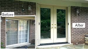 replace sliding glass door with french doors sliding glass french door replacing sliding glass door on