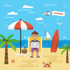 休日のビーチで働くフリーランサーと夏休みアイコングラフィックウェブサイトやインフォ