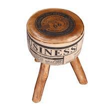 novelty 20 mango wood 3 legged round ottoman stool