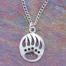 925 sterling silver bear paw pendant