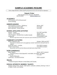 Resume For College Application Template Sample Academic Resume For