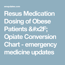Medication Dosage Conversion Chart Resus Medication Dosing Of Obese Patients Opiate