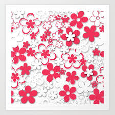 Flower Printed Paper Red And White Paper Flowers 2 Art Print By Palitraart