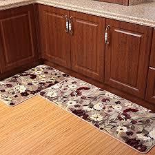 ustide 2 piece rustic flower kitchen rug set super soft kitchen memory foam rug c