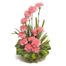 pink carnations basket arrangement hyderabad gifts