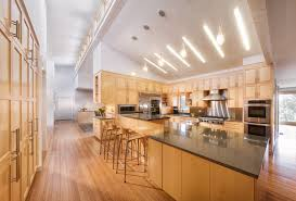 sloped ceiling lighting kitchen contemporary with bamboo floor breakfast bar