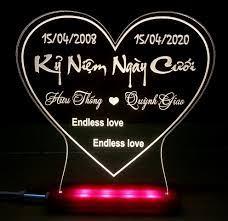 Quà lưu niệm đèn led khắc theo yêu cầu quà tặng ý nghĩa đám cưới, người yêu,  quà sinh nhật, tặng vợ, người thân hoặc bạn bè