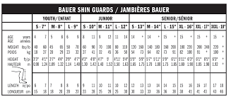 Ice Hockey Shin Guards Size Chart 13 Studious Bauer Runner Size Chart
