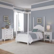 3 Piece Wood Twin Poster Bedroom Set in White