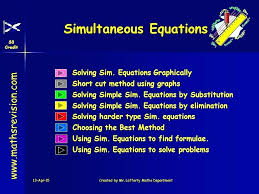 solve equations graphically math by maths department solving sim solving simultaneous equations graphically maths genie answers
