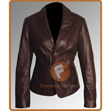 slim fit dark brown women leather blazer real leather blazer for women s uk