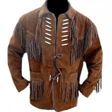 sleekhides men s cowboy leather jacket with bones and fringes