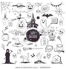 Traditional Symbols Hand Drawn Halloween Traditional Symbols Doodle Stock Vector
