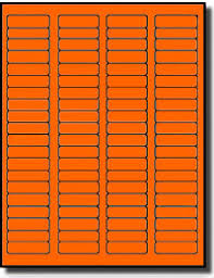 Avery 1 2 X 1 3 4 Template 1 600 Fluorescent Neon Orange Laser Only Labels 1 75 X 0 5 20 Sheets With 80 Labels Per Sheet Use Avery 5267 Template