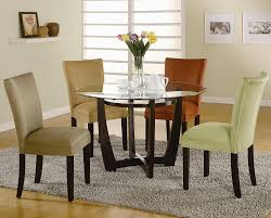 Amazon Com Round Dining Table With Glass Top Cappuccino Finish