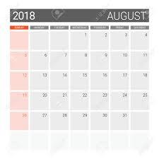 August Theme Calendar 2018 August Calendar Or Desk Planner Weeks Start On Sunday