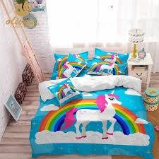 plain blue cot bed duvet cover drawing bedding set for kids sky blue unicorn duvet