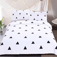 black white printing geometric pure white duvet cover set modern simple cotton bedding set bed linens