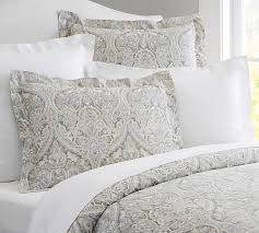 taupe mackenna paisley percale patterned duvet cover sham pottery barn