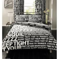super king snooze black white duvet cover set